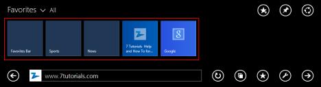 Internet Explorer 11, touch, version, Windows 8.1, favorites, add, remove, edit