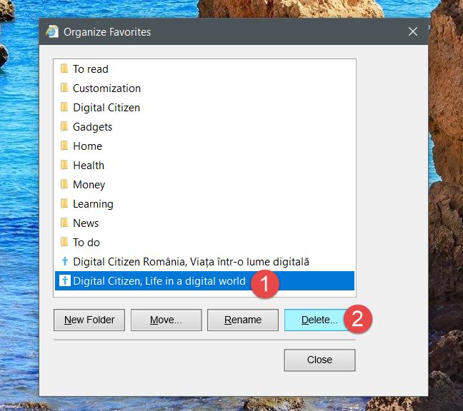 Internet Explorer, favorites