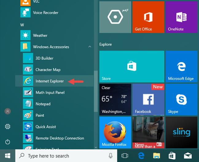 Internet Explorer, Windows, start
