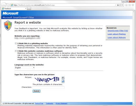 Internet Explorer - Report Websites