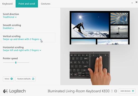 Logitech, K830, Illuminated, Living-Room, Keyboard