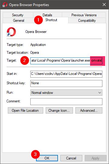 Opera shortcut to open a private window