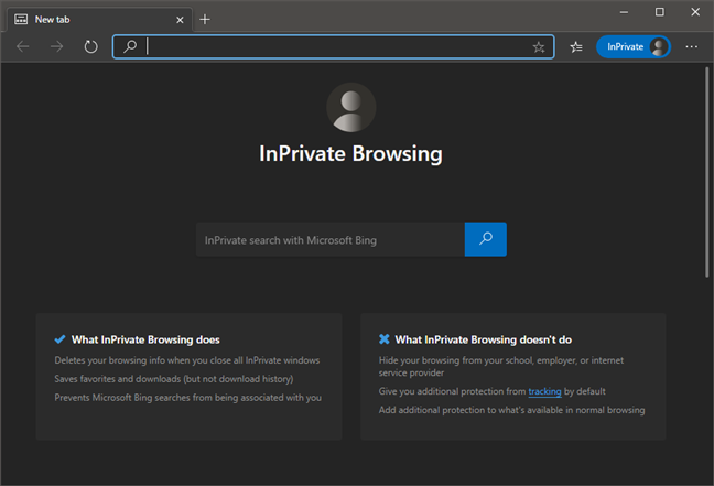 Edge - InPrivate Browsing window