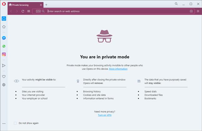 Opera - Private browsing window