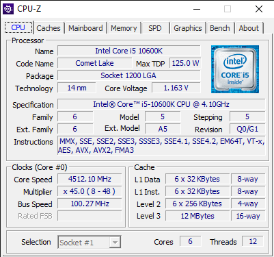 CPU-Z details about the Intel Core i5-10600K CPU