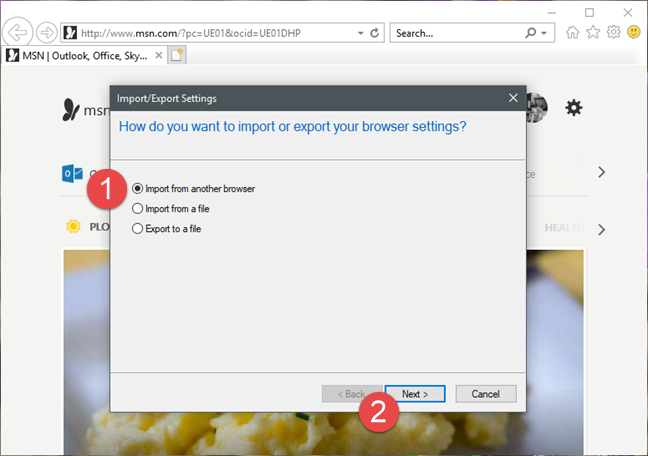 Internet Explorer, Windows, bookmarks, import, export