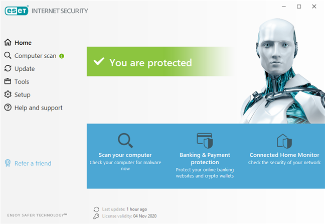 The ESET Internet Security user interface