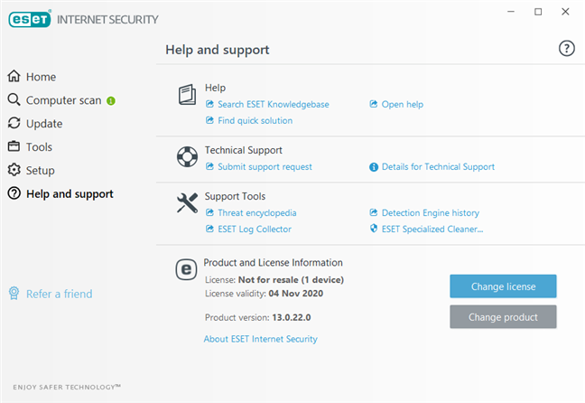 The Help and Support options available in ESET Internet Security