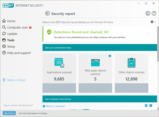 Security reports and logs available in ESET Internet Security