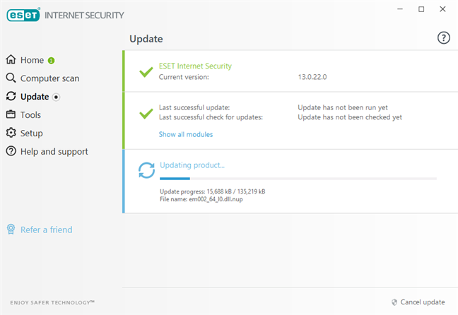 ESET Internet Security updates its malware database immediately after install