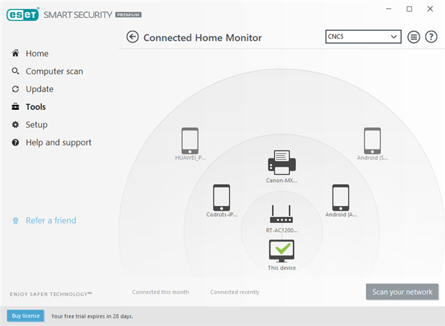 The Connected Home Monitor from ESET Smart Security Premium