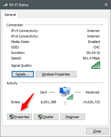 The Properties button from the network's Status window