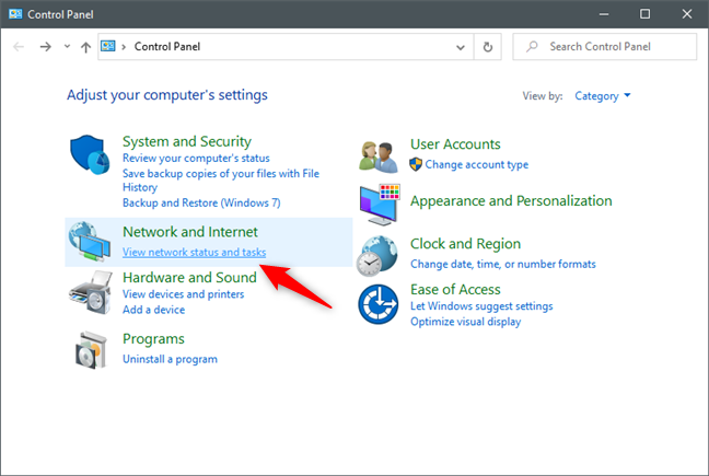 View network status and tasks in Control Panel