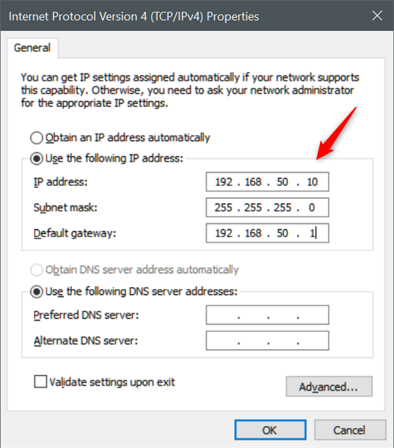 Set a static IP address in Windows 10