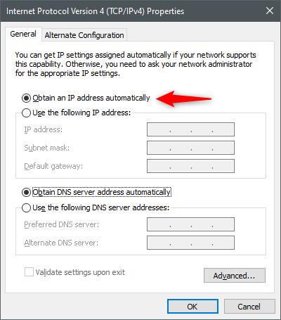 Obtenga una dirección IP automáticamente