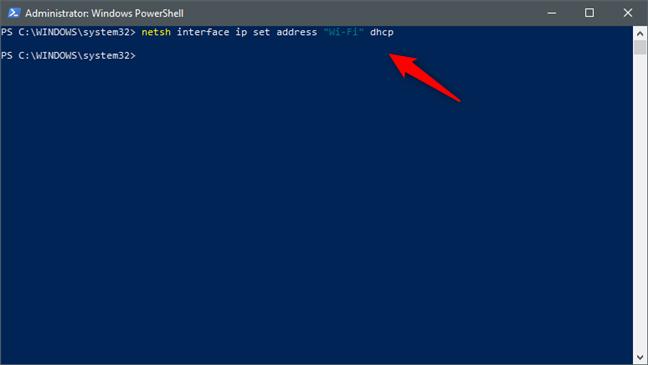 dirección IP de la interfaz netsh & quot; Nombre de la interfaz de red & quot;  DHCP