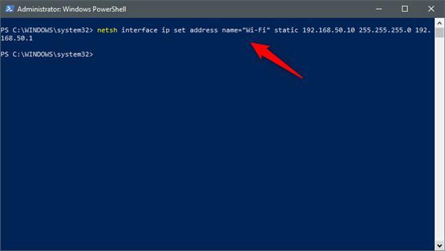 netsh interface ip set address name = & quot; Nombre de la interfaz de red & quot;  estática [dirección IP] [máscara de subred] [puerta de enlace]