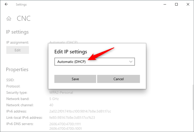 Edit IP settings to get an IP address automatically via DHCP