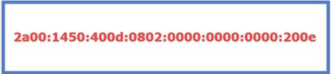 Un ejemplo de una dirección IPv6