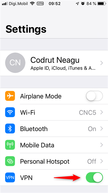 The VPN switch on your iPhone's settings