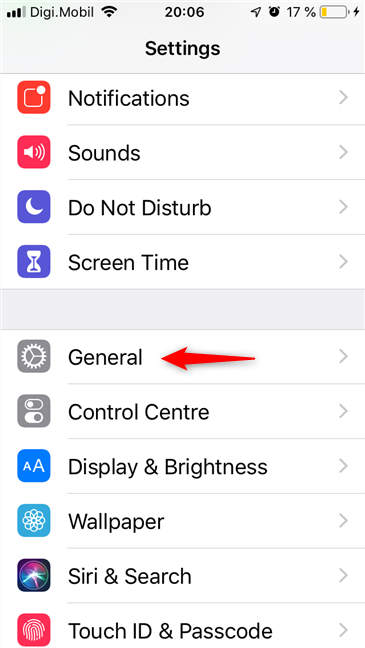 The General entry from the Settings of an iPhone