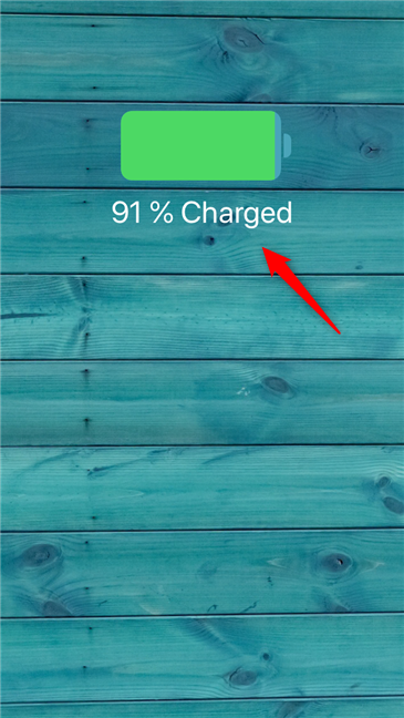 The battery percentage shown when an iPhone starts charging