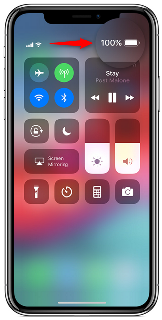 The battery percentage shown in the Control Center on an iPhone X