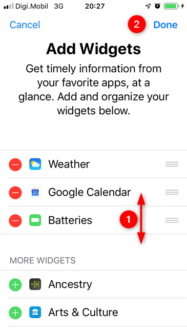 Choosing the position of the Batteries widget and saving the changes