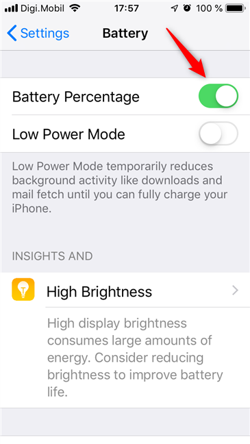 The Battery Percentage switch on an iPhone