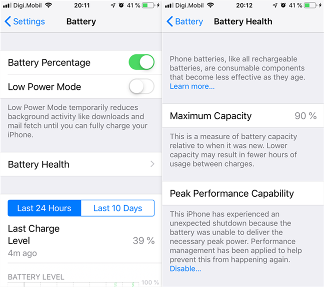 Battery options and battery health information