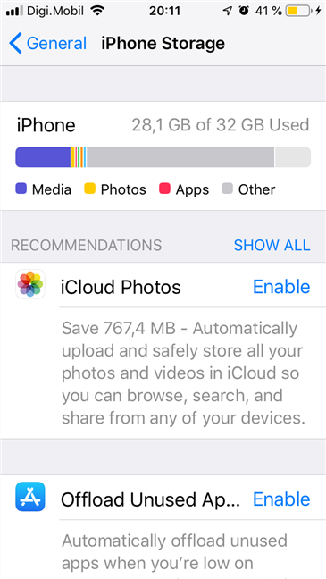 Storage information shown by an iPhone