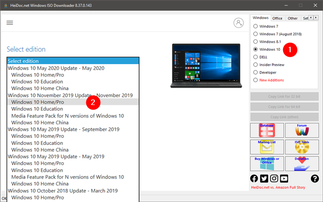 Selecting the edition of Windows 10 ISO download