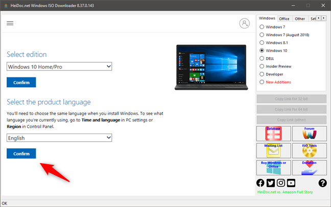Confirm the language of the Windows 10 ISO direct download