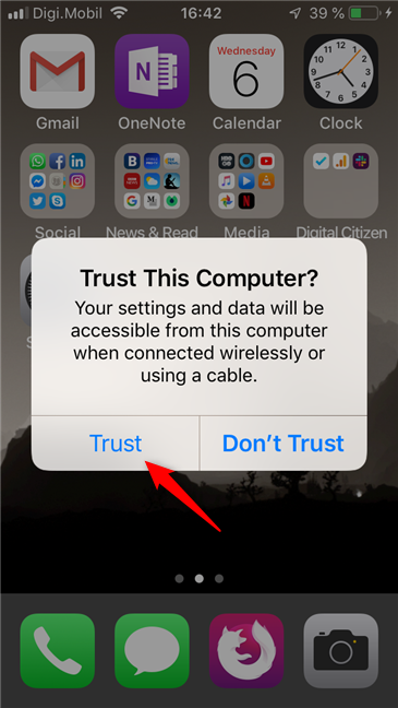 Answering the Trust This Computer? Question on the iPhone