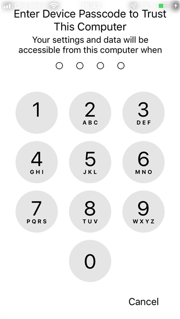The PIN code used on the iPhone