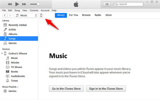 The iPhone device button from the top-left area of the iTunes app