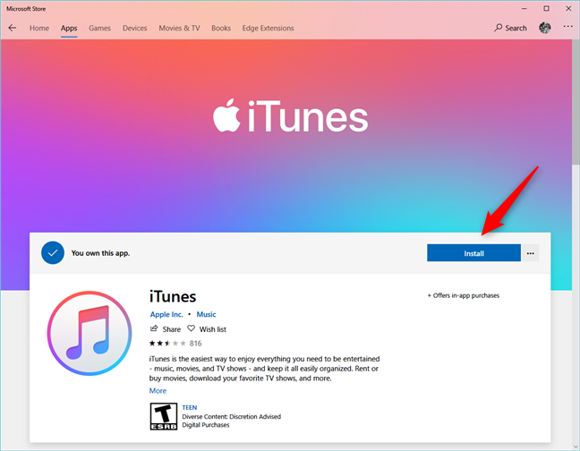 The iTunes page from the Microsoft Store