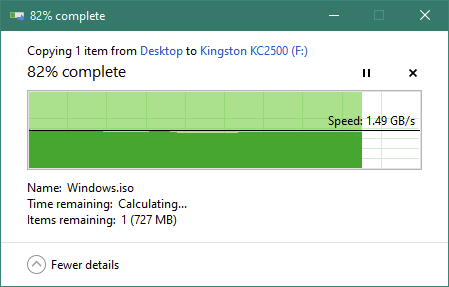 Copying a large file on the Kingston KC2500 1 TB M.2 NVMe PCIe SSD