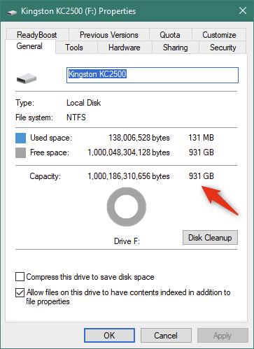 Details about the Kingston KC2500 SSD, as shown by Windows 10