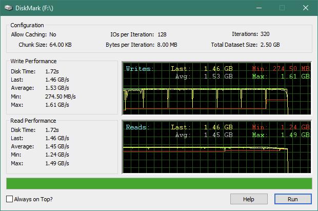 Kingston KC2500 1 TB M.2 NVMe PCIe SSD: DiskMark benchmark results