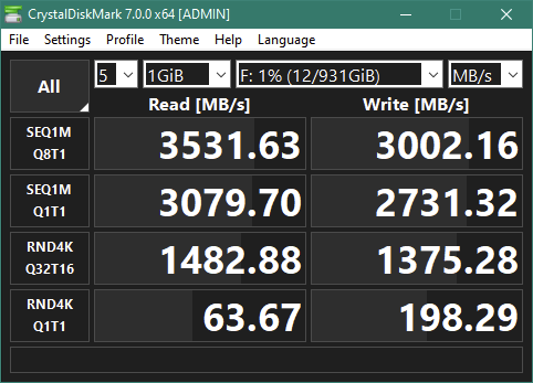 Kingston KC2500 1 TB M.2 NVMe PCIe SSD: CrystalDiskMark benchmark results