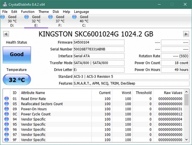 "Information about the Kingston KC600 1 TB 2.5"" SATA SSD"