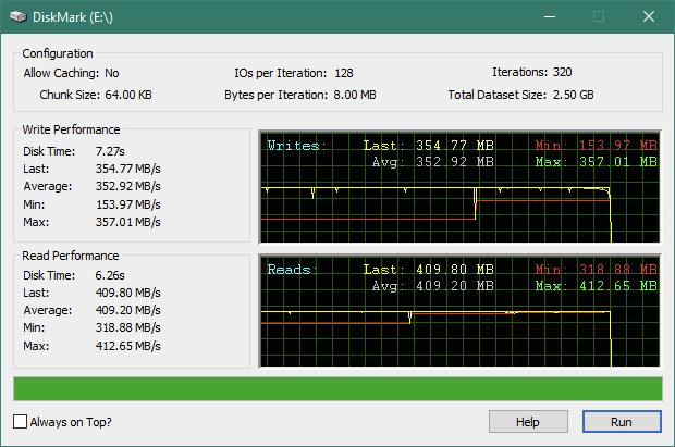 """Kingston KC600 2.5"""" SATA SSD: DiskMark benchmark results"""