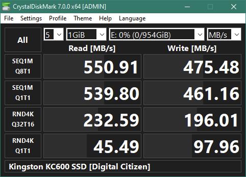 "Kingston KC600 1 TB 2.5"" SATA SSD: CrystalDiskMark benchmark results"