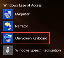 On-Screen Keyboard, Windows 8.1