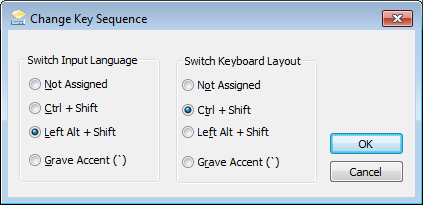 Change Key Sequence for input language and keyboard layout in Windows 7