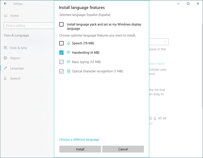 Selecting the language features to install in Windows 10