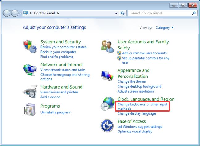 Windows 7: Clock, Language, and Region settings