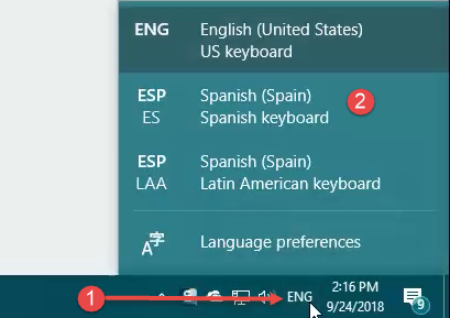 The menu for switching keyboard input languages in Windows 10