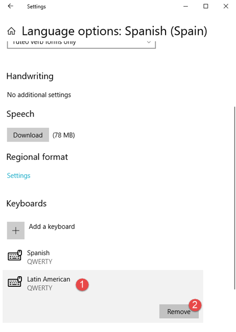 Removing a keyboard input language variant from Windows 10